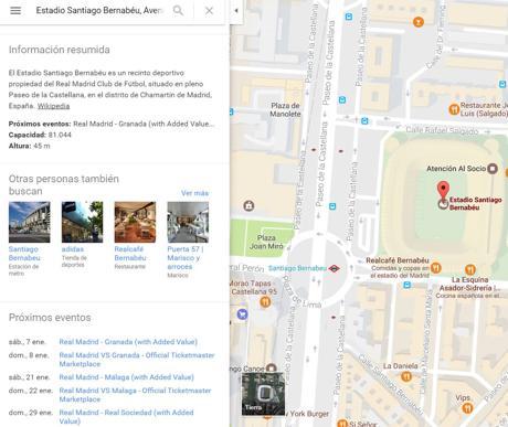 Ejemplo de la función próximos eventos de Google Maps