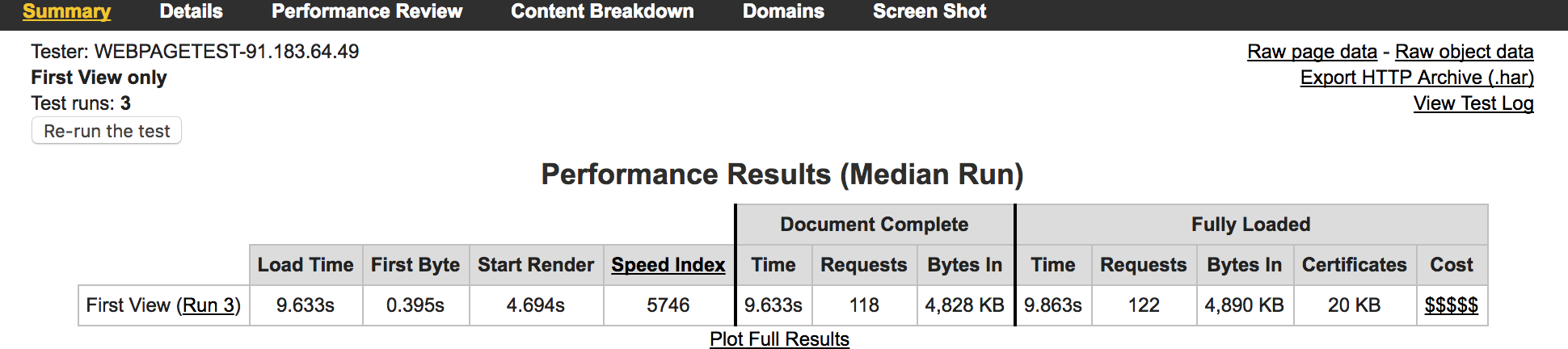 webpagetest-performance-summary