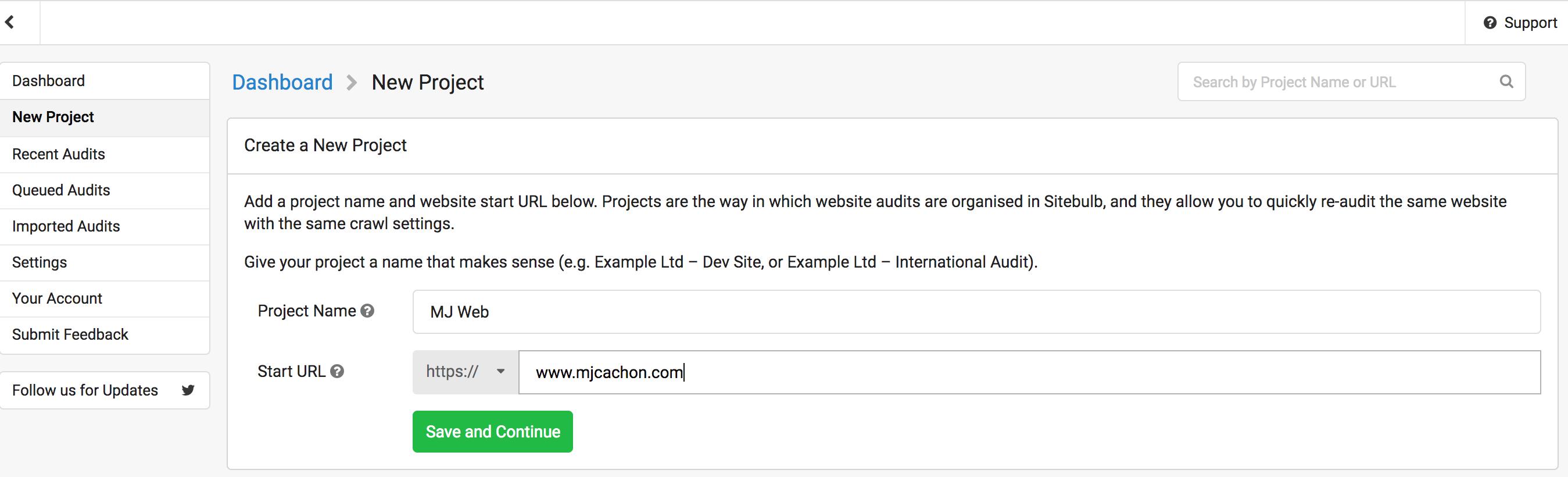 crear proyecto sitebulb