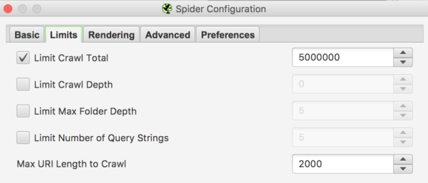 Configurar el Spider de Screaming Frog