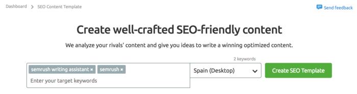 Primer paso para crear una plantilla en Semrush Writing Assistant