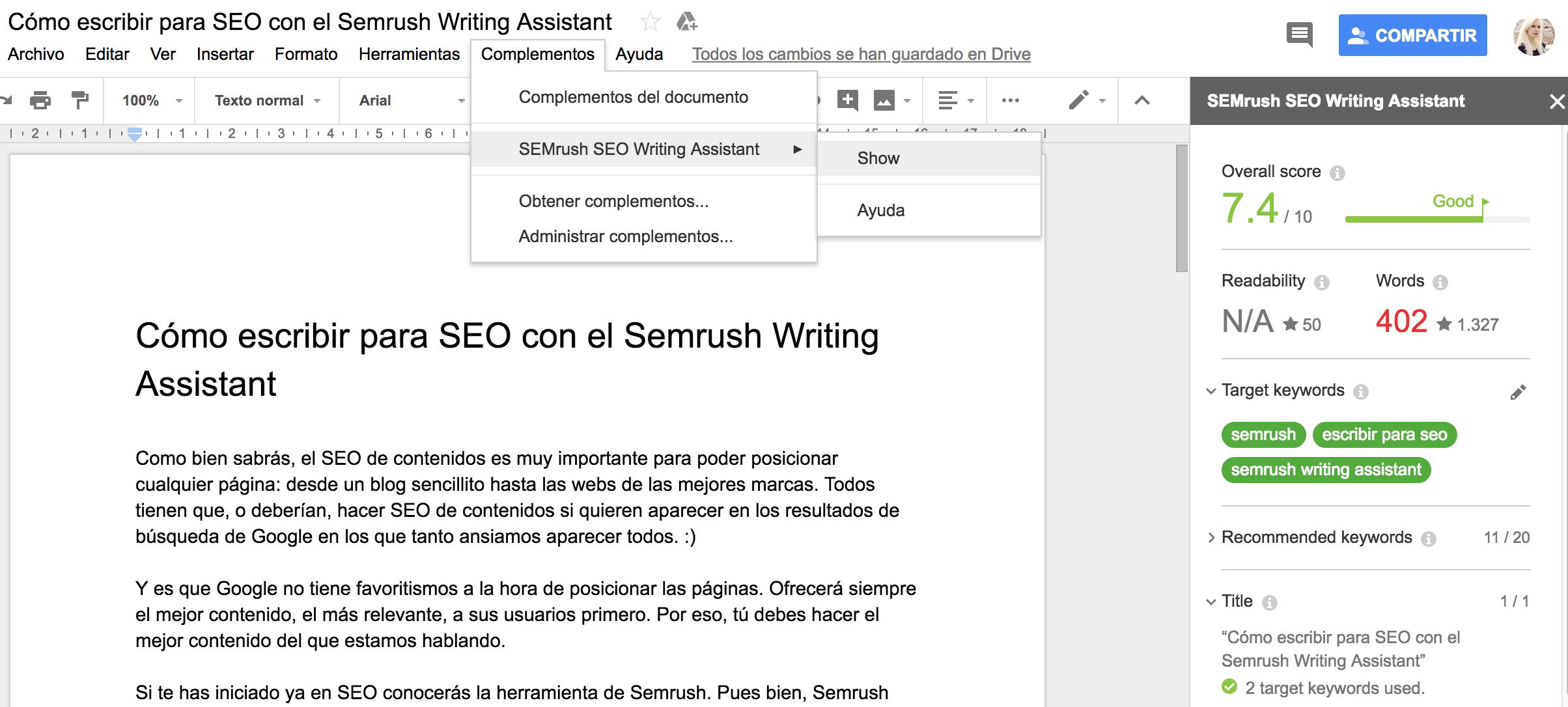 Qué y cómo es el Semrush Writing Assistant