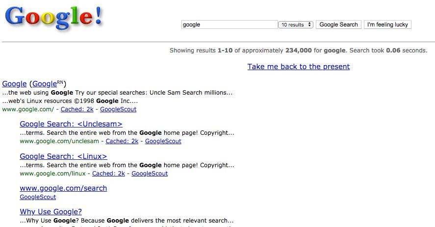 Google in 1998 (Truco de Google)